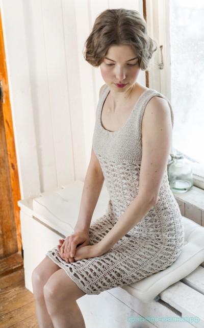 Платье женское спицами