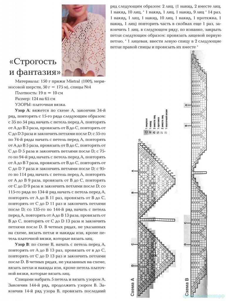 описание шали спицами