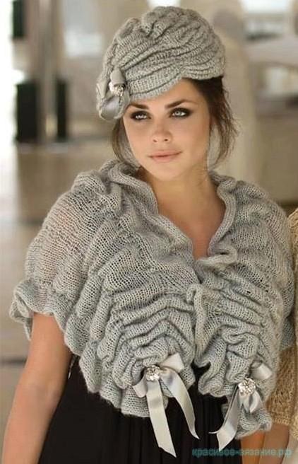 Стильный комплект. Шапочка и шарф.