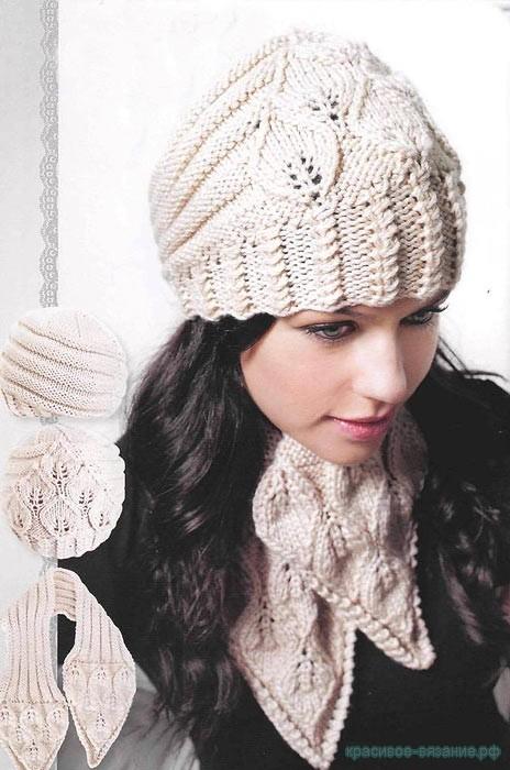 Шапочка и шарф для женщины спицами
