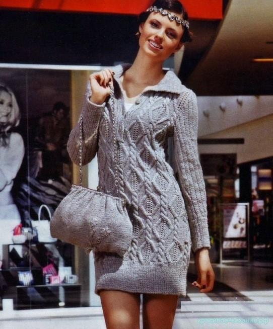 Платье и сумка спицами