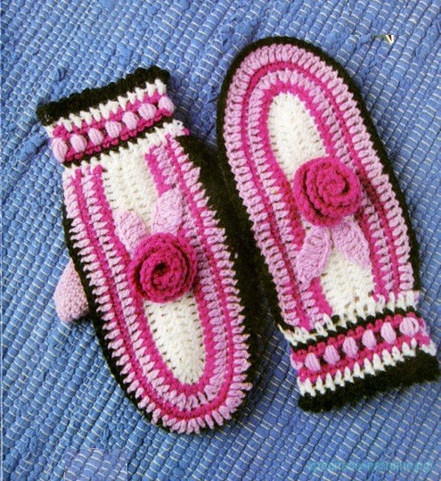 Варежки для девочки крючком