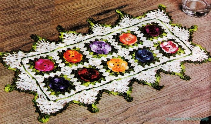 крючком салфетки с цветами