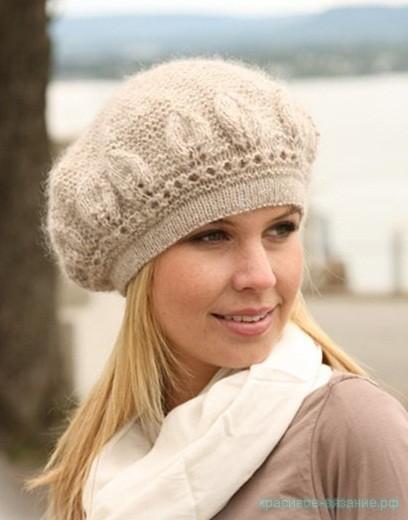 Вязание спицами шапки.