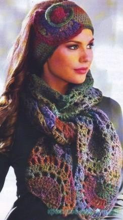 Повязка и шарф крючком