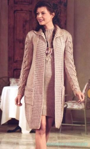 Комплект: платье и пальто спицами