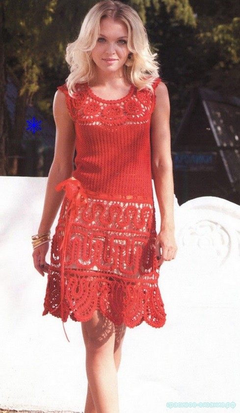 Рубиновое платье крючком