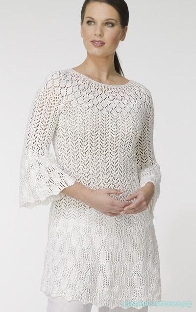 Белое платье-туника спицами