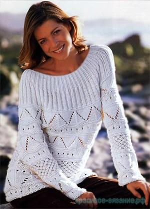 Ажурный пуловер с круглой кокеткой спицами