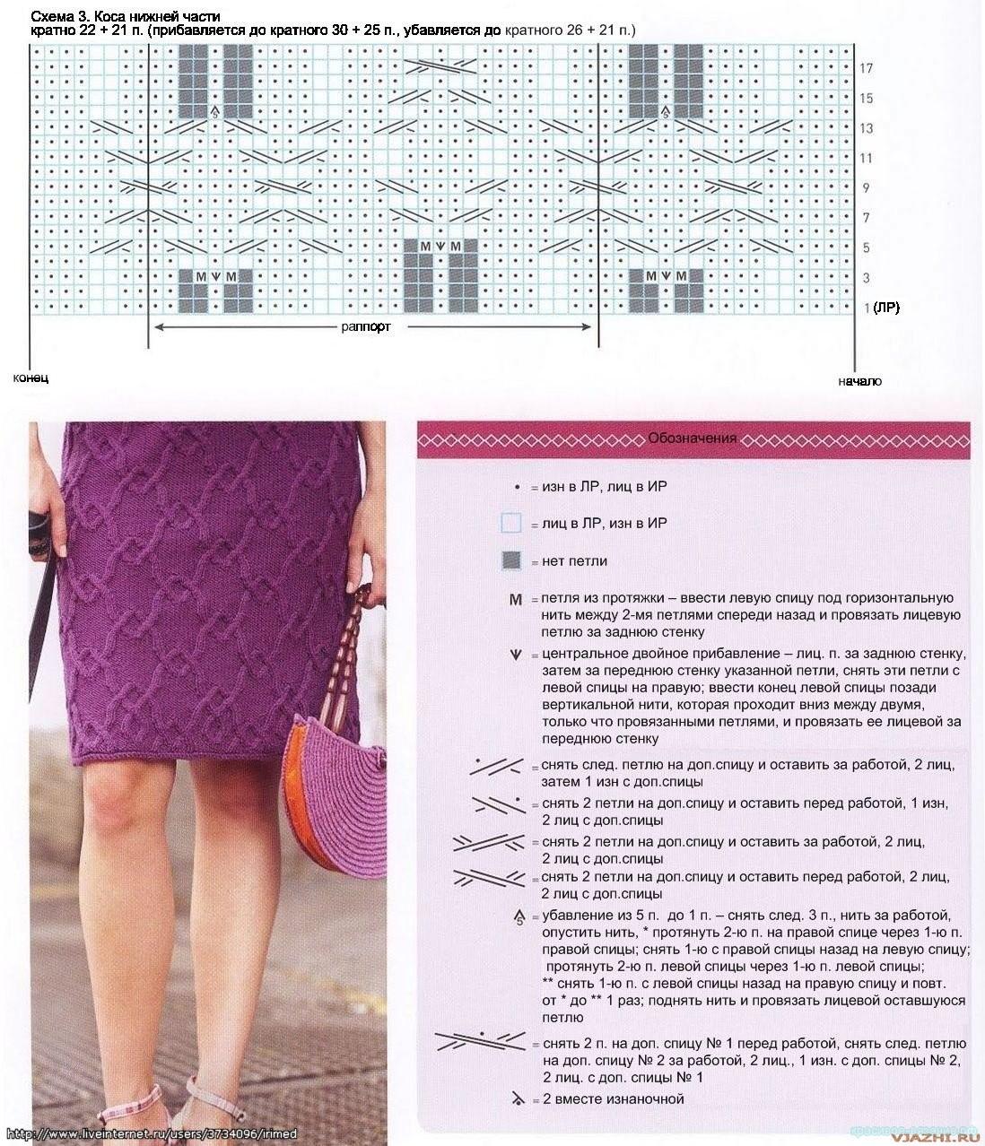 Вязанные юбки со схемами и описанием спицами