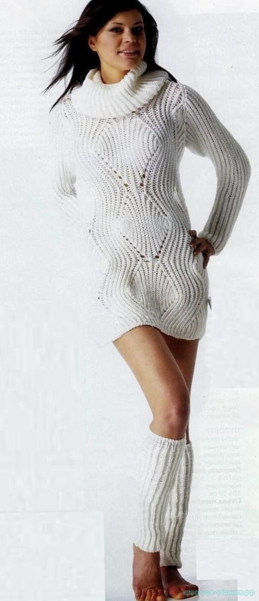 Белое платье и гетры