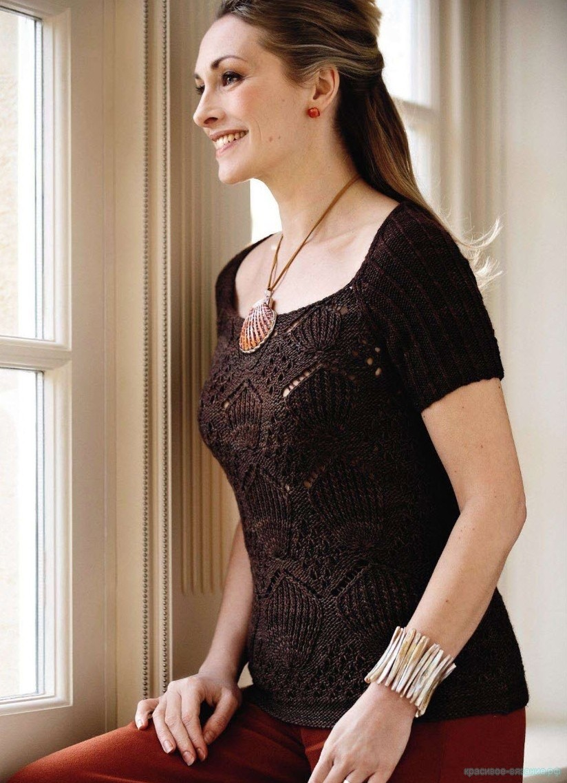 Вязаный спицами женский топ Seashell из The Knitter 29