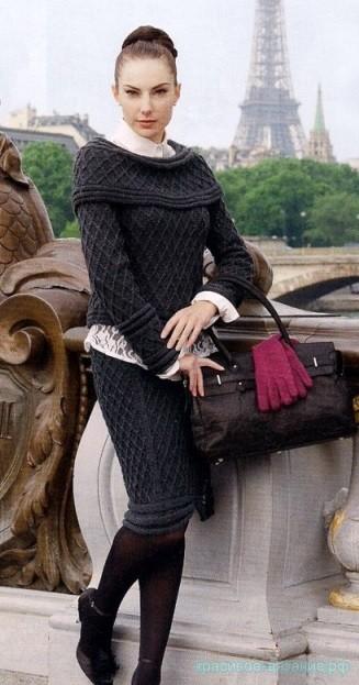 Пуловер и юбка с узором ромбы
