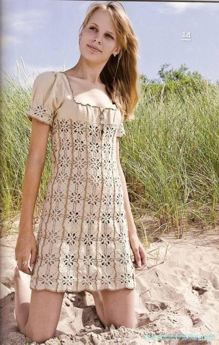 Летнее платье, связанное крючком