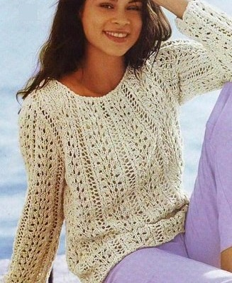 пуловер для женщин спицами описание