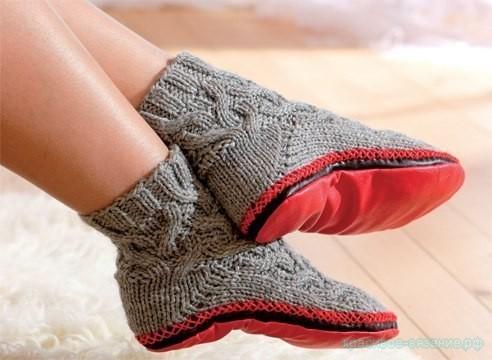 Модные вязаные тапки-носки,