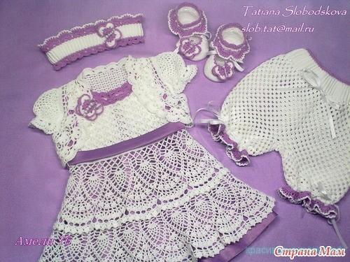 """Комплект для малышки """"Райские бабочки"""" Платье, болеро, штанишки, пинетки, повязка."""