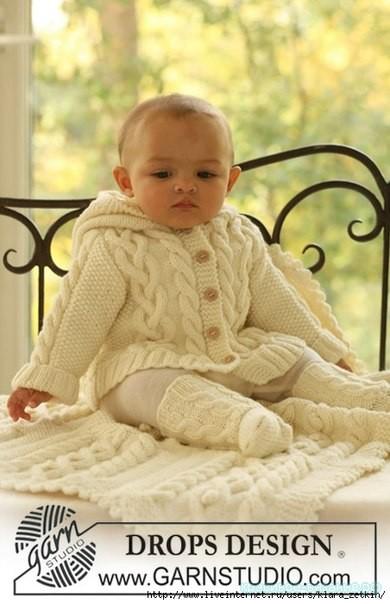 Комплект для малыша: жакет, носочки, одеяло