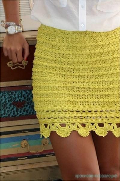 Мини-юбка крючком.