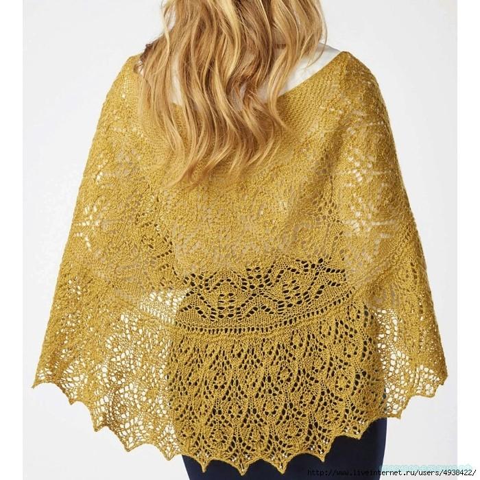 Желтая ажурная шаль «Beausoleil» спицами.
