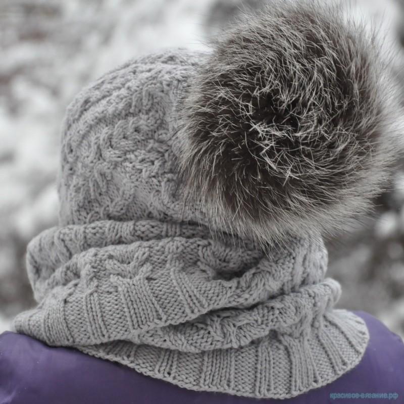 шапочка для девочки спицами, снуд спицами