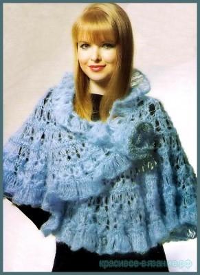 Голубая шаль. Ажурное вязание спицами.