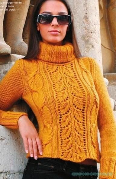 Вязание свитера спицами.