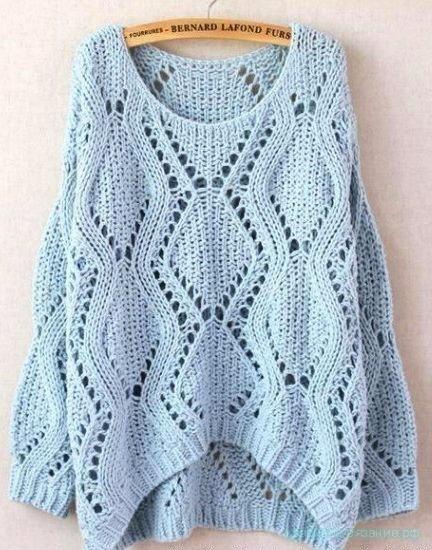 Вяжем свитер спицами.