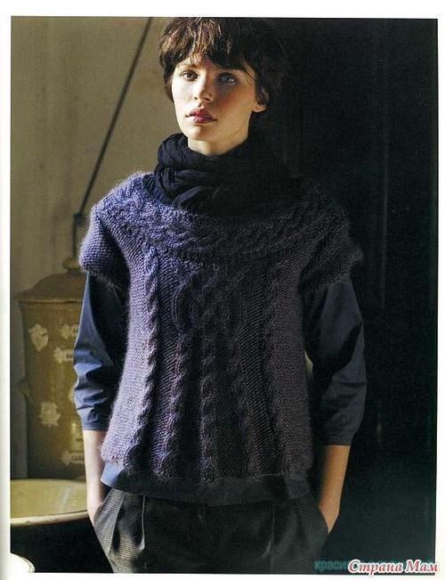 Стильный пуловер с аранами.