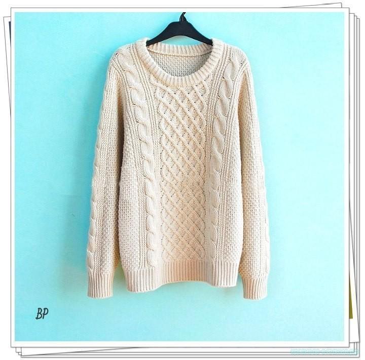 Стильный пуловер спицами.