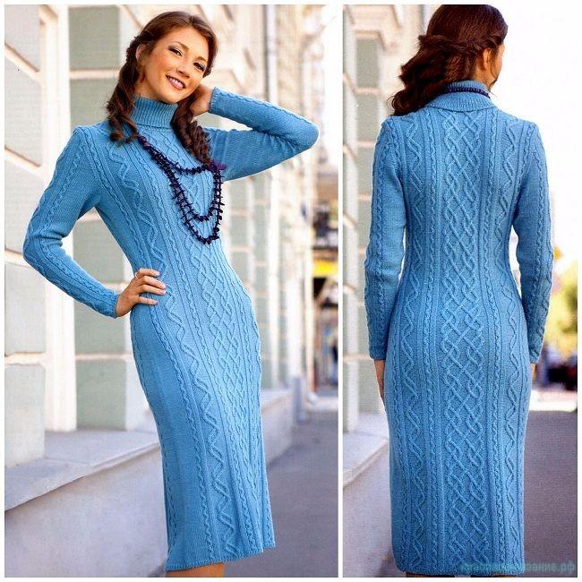 Женское платье спицами